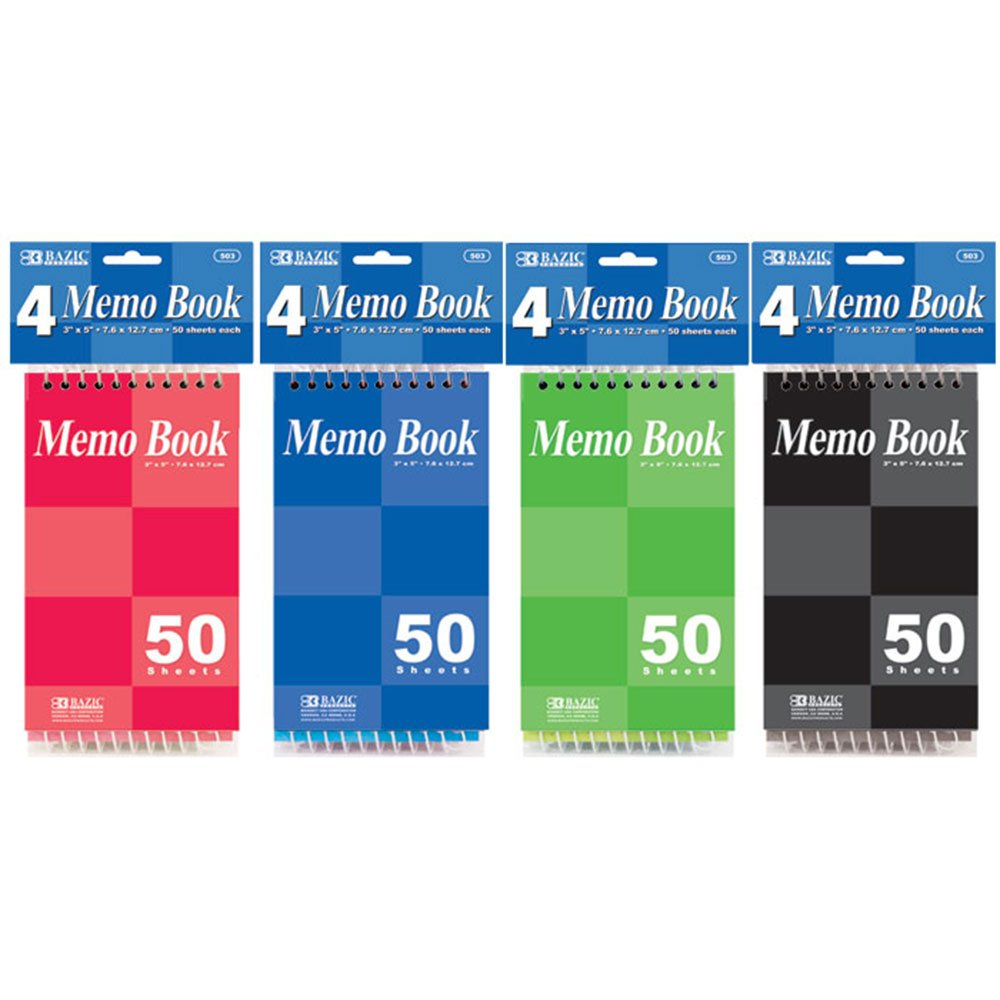 Bazic Top Bound Spiral Memo Books, 3 x 5 Inches, 50 Sheets (4/pack) (Case of 72 packs, 288 pads)