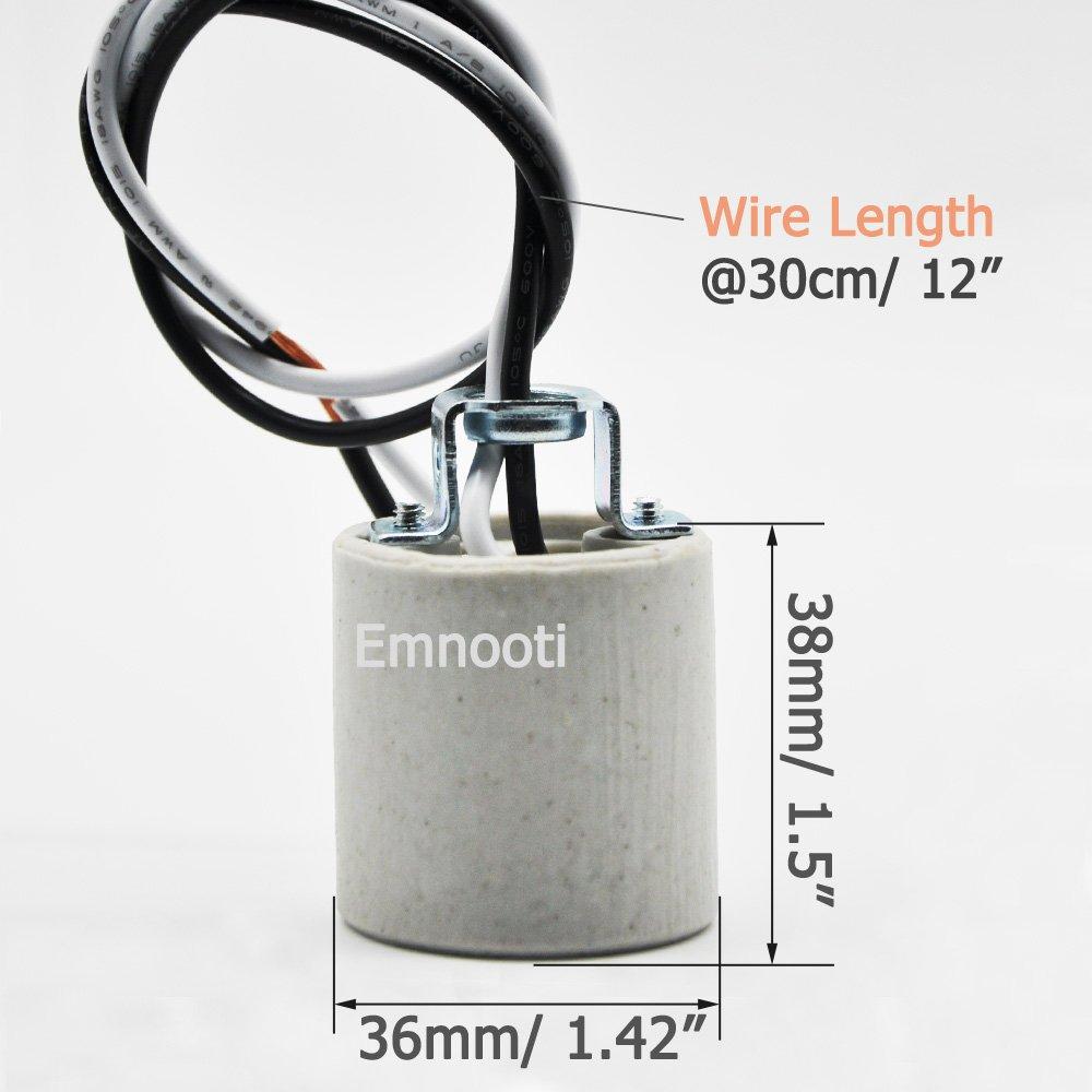 Ltd 8-Pack E26 Socket,Ceramic Standard Medimun Screw Socket E26 E27 Bulb Lamp Holder,E26 Light Socket with Wire Lead for Halogen Incandescent LED Light Bulb FineLux Lighting Co