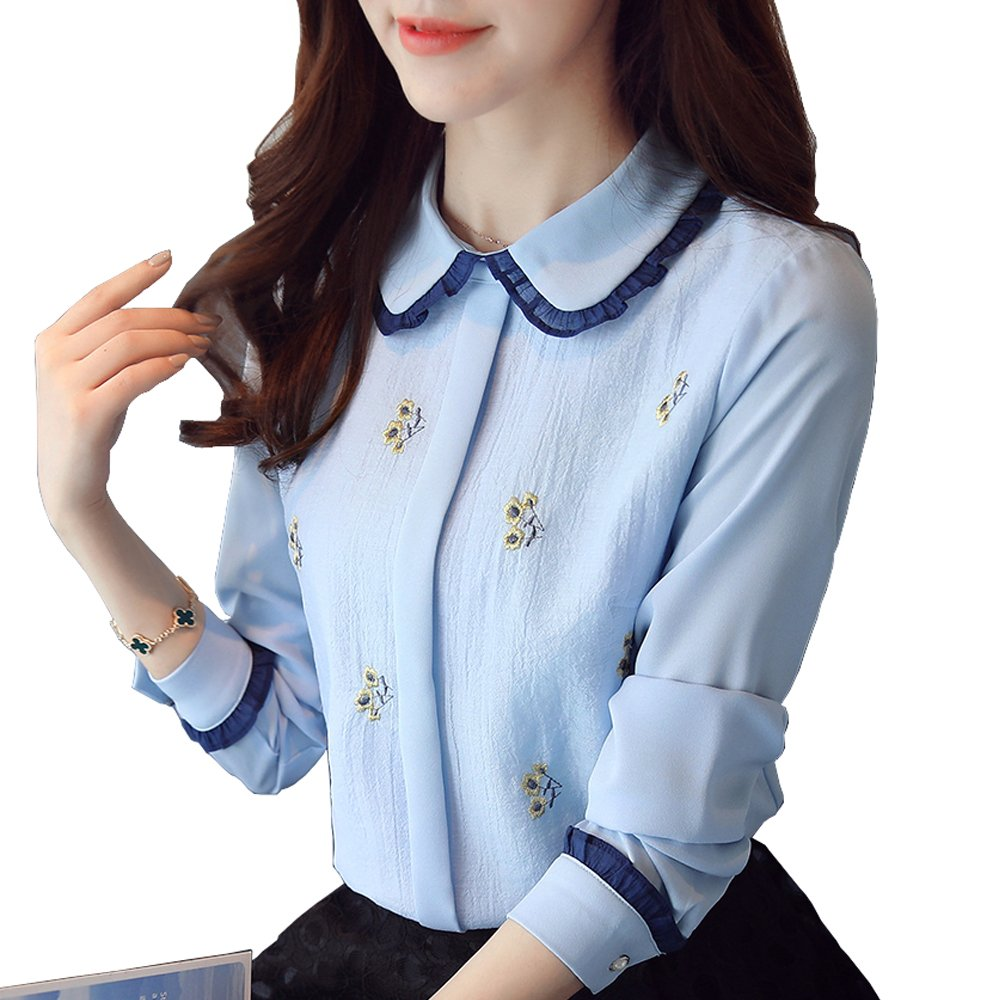 Meet Nice Women's O Neck Shirts Ruffle Long Sleeve Casual Elegant Work Chiffon Blouses (M, Blue)