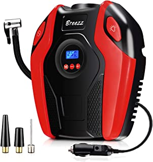 Breezz Tire Inflator, Air Compressor Pump, 12V DC Portable Auto Tire Pump with Digital Display Pressure Gauge for Car, Bicycle and Other Inflatables (red)