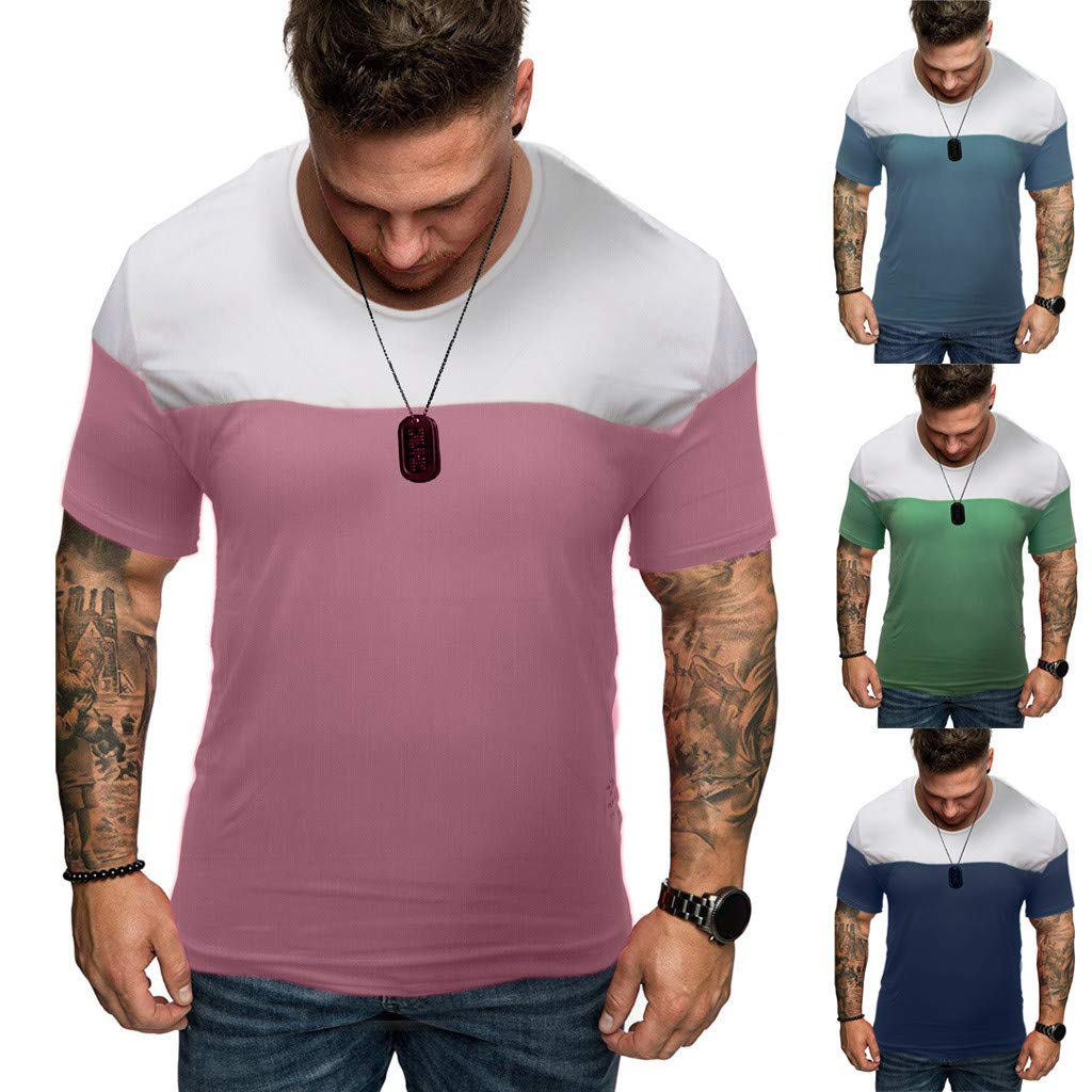 STORTO Mens Summer Casual Tee Shirts Patchwork Short Sleeve Tops Fashion T-Shirts