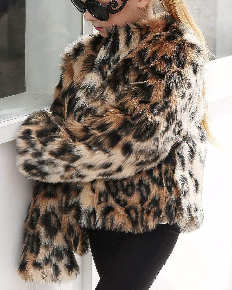 ZhuiKunA Toddler Baby Girls Coat Faux Fur Leopard Print Parka Coat Warm Jacket Kids Snowsuit Age of 7-13