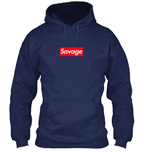 0a7a67abe67d Amazon.com  Supreme Savage Box Logo Inspired Hoodie - 21 Savage (Small