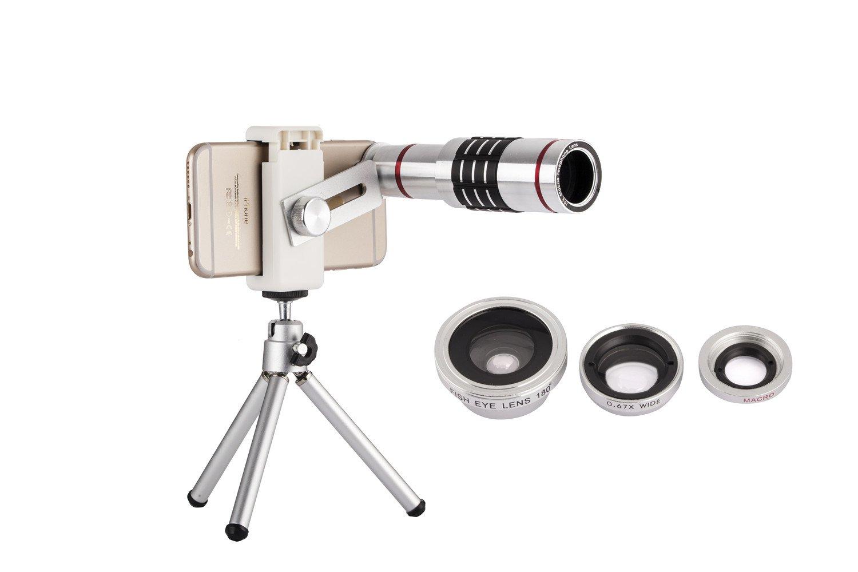 18X Zoom Phone Lens, Nalha Universal Telephoto Lens/Fisheye /Wide Angle/Macro Lens With Mini Tripod for Samsung LG MOTO Google Huawei ZTE HTC Nokia iPhone 8/7/6/5 (Silver)
