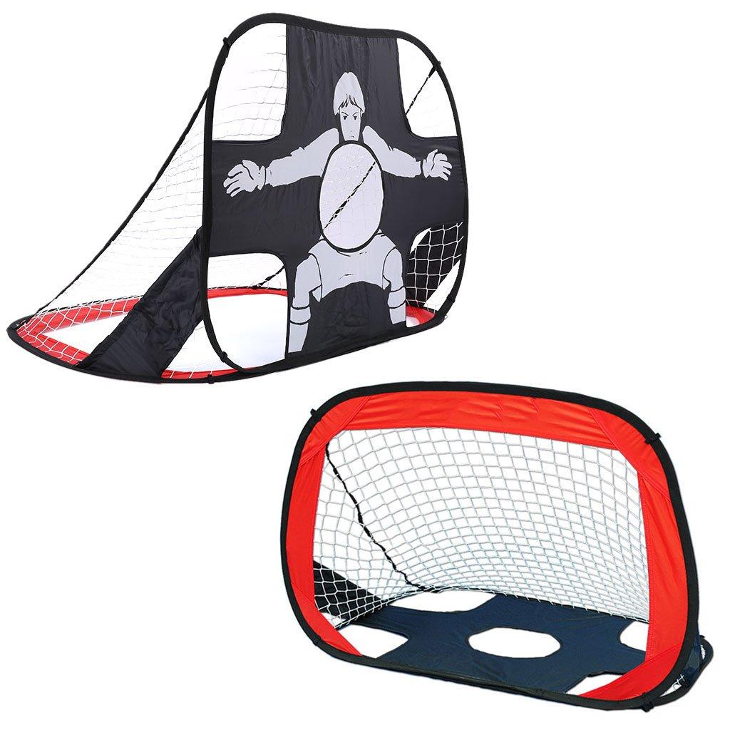 Virhuck 2 in 1 Pop Up Kids Soccer Goal Portable Kids Soccer Net, Easy Score Football Set Indoor/Outdoor Shooting Practice Goal for Backyard Play with Round Zipper Carry Bag