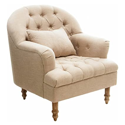 Genial Nelson Beige Tufted Fabric Arm Chair