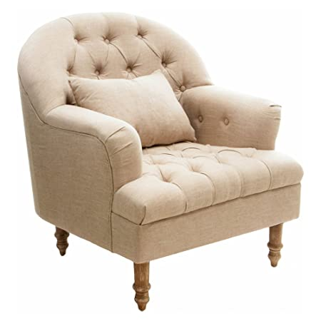 Great Deal Furniture 295003 Nelson Beige Tufted Fabric Arm Chair,