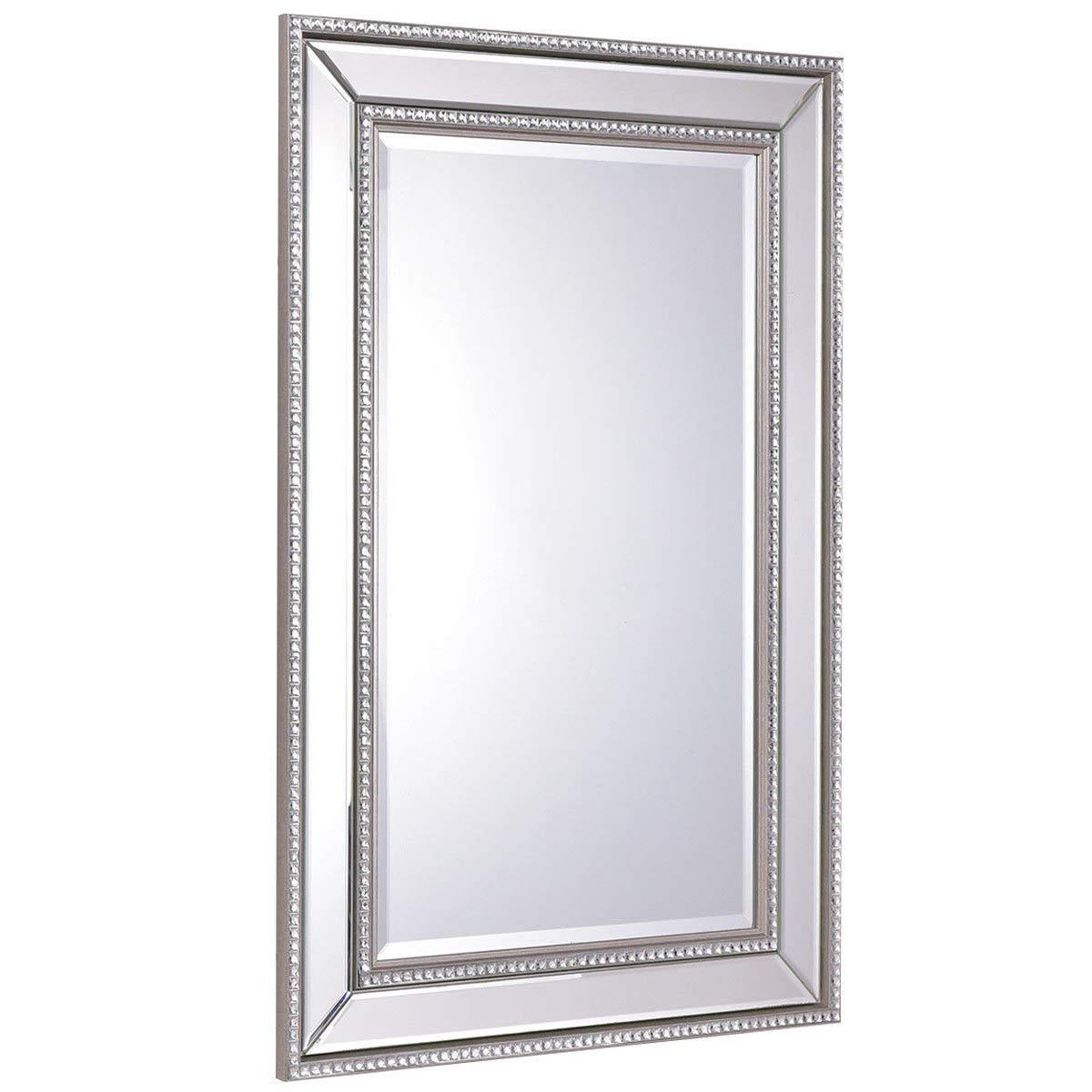 Tangkula 24'' x 36'' Wall Mirror Wall Mounted Wood Frame Rectangular Bathroom Vanity Mirror