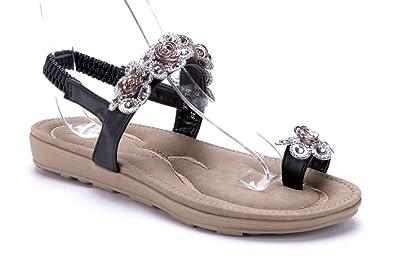 ff93d89a966a71 Schuhtempel24 Damen Schuhe Zehentrenner Sandalen Sandaletten schwarz flach  Ziersteine Blumenapplikation