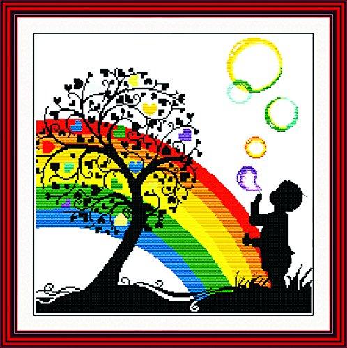 (Good Value Stamped Cross Stitch Kits Beginners Kids Advanced - Rainbow Bubble Boy Garden 20