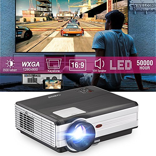 Theater No Lens Projector (EUG LCD HD Cell Phone Projector Multimedia HDMI USB VGA Outdoor Movie Theater Projector Compatible with iPhone DVD iPad Support 1080P Video Projector with HDMI Cable Remote)
