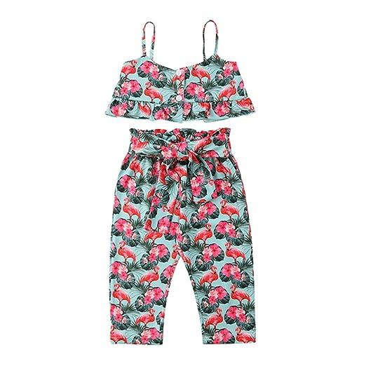 1cd4b9155906 Amazon.com  Toddler Baby Girls Flower Flamingo Tank Tops+Long Pant Summer Clothes  Outfits 2Pcs Set  Clothing