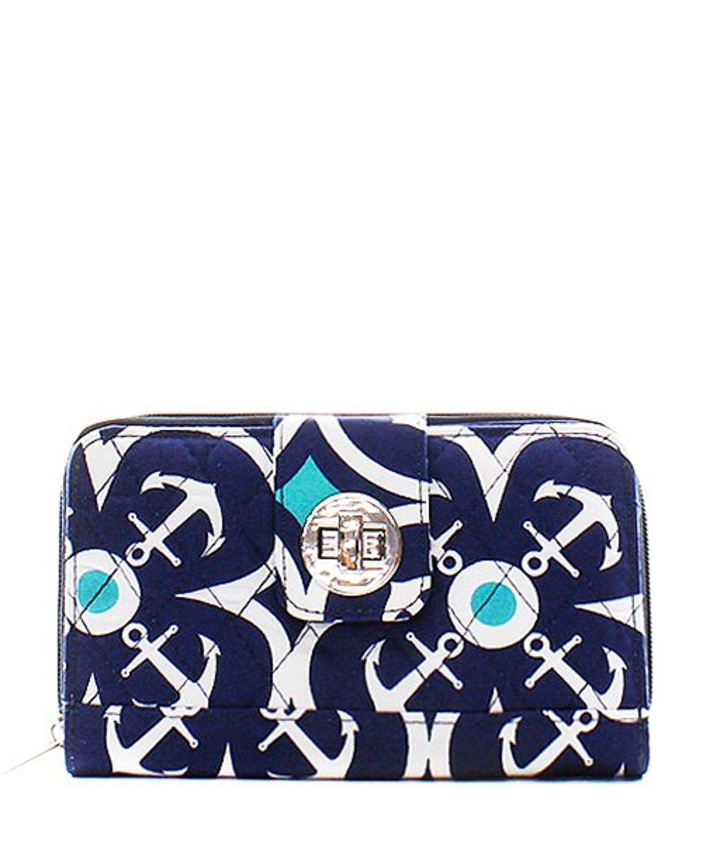 Geometric Anchor Print Quilted Canvas Organizer Wallet