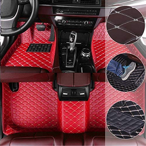 Car Floor Mats for BMW Mini Cooper 2014-2018 2door Custom Leather mat Full Surrounded Cargo Liner All Weather Protection Waterpoof Non-Slip Set Left Drive Black and Red