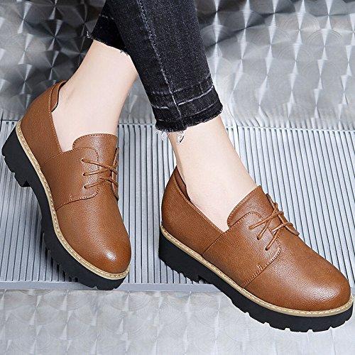 KHSKX-Boca Profunda Solo Zapato Mujer Primavera Nuevos Productos Cabeza Redonda Tie Women Shoes Fondo Plano Y Patio Grande Mujer Zapatos Camel