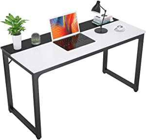 "Foxemart Computer Desk 39 Inch Study Writing Table, Modern PC Laptop 39"" Sturdy Simple Gaming Desk for Home Office Workstation, White and Black"