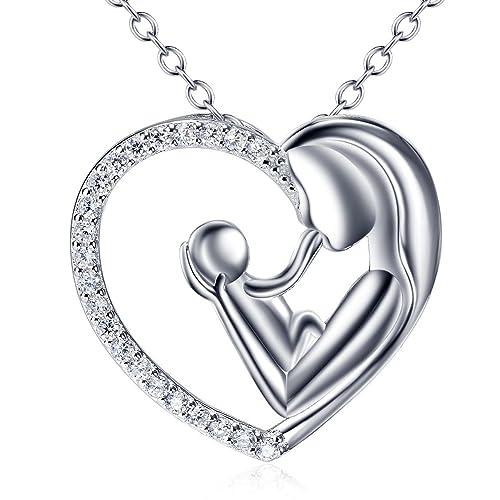 0e3c3a6f21de Mujer Collar Plata 925 La madre del niño Amor mamá colgante de corazón