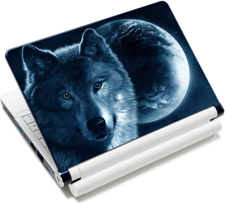 "iColor Laptop Skin Sticker Decal Covers 12"" 13"" 13.3"" 14"" 15"" 15.4"" 15.6 inch Laptop Skin Sticker Cover Art Decal Protector Notebook PC (Moon & Wolf)"