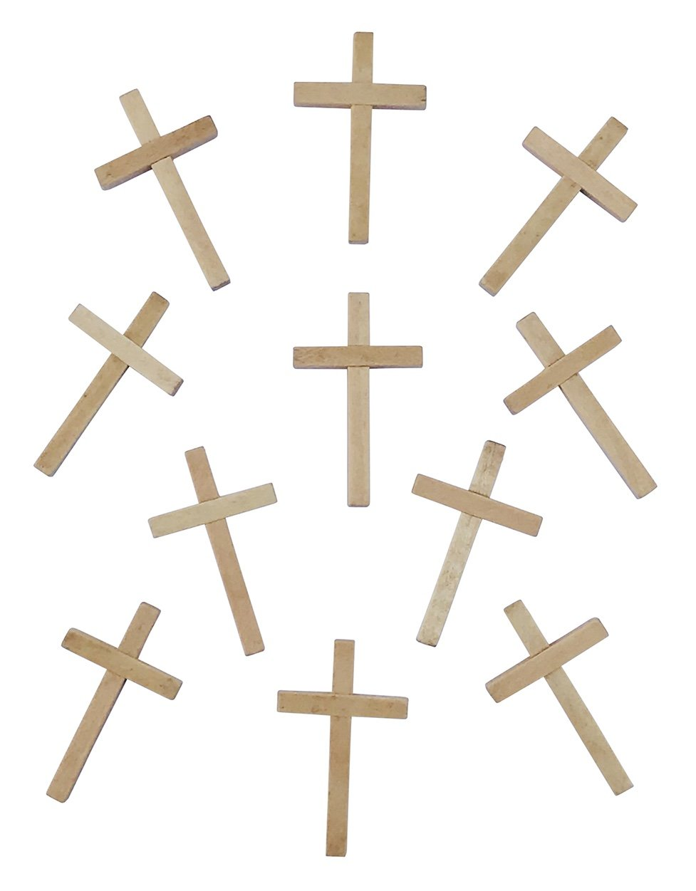 Unbranded Small Wooden Crucifix Crosses One Pack of 40 Pieces 2'' Tall Natural Color