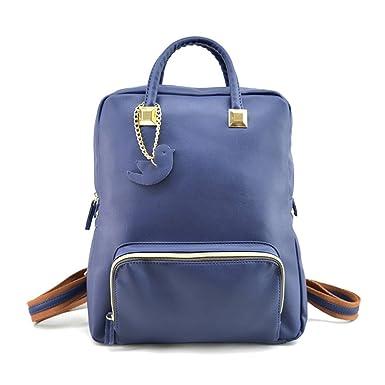 Minetom Pu Cuero Backpack Mochilas Escolares Mochila Escolar Casual Bolsa Viaje Moda Paloma Cremallera Mujer Azul One Size: Amazon.es: Ropa y accesorios