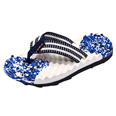 c66fed1e6a7320 Mens Flip Flops Beach Sandals Lightweight Massage EVA Sole Comfort Thongs  for Beach (Blue