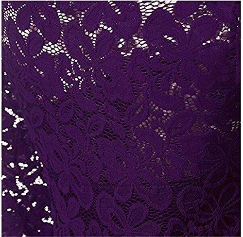 Dentelle Florale Vintage Femmes Sumaida Manches Longues Cocktail Col Bateau Robes De Swing Formelles Filles Violet