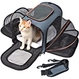 Pet Carrier Expandable, Veckle Airline Approved 2 Sides Expansion Pet Cat Travel Tote Bag Foldable Soft Side Carrier for Cats Dogs and Small Animals