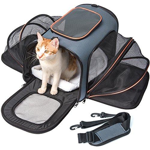 Pet Carrier Expandable, Veckle Airline Approved 2 Sides Expansion Pet Cat Travel Tote Bag Foldable Soft Side Carrier for Cats Dogs and Small Animals by Veckle