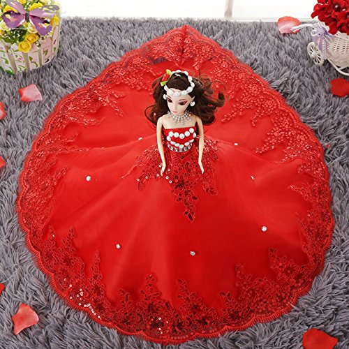 Zehui Doll Furnishing Articles Chinese Doll with Elegant Paillette Wedding Gown Wedding Doll Toy Children's Room Decoration Creative Gifts Red by Zehui