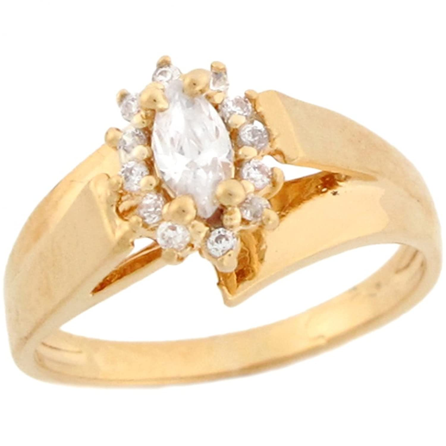 10k Yellow Gold White CZ Floral Cluster Petite Ladies Ring