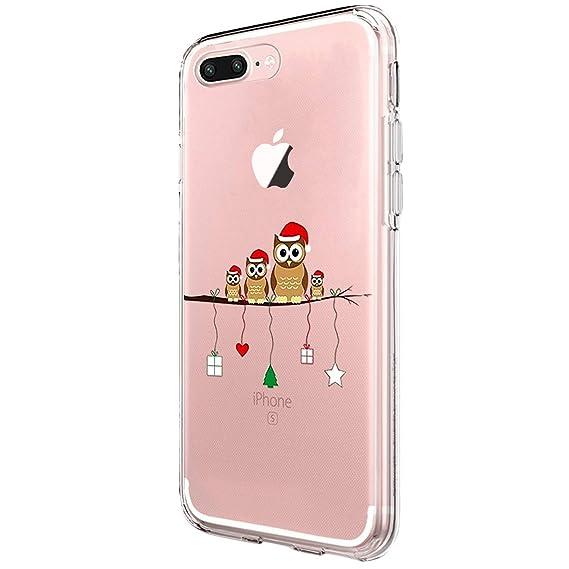 aec9a63efae Funda iPhone 7 Plus Cárcasa Silicona Transparente con Dibujos Navidad  Diseño Carcasa Suave Gel TPU Christmas Case para Movil Apple iPhone 8 Plus  Cover ...