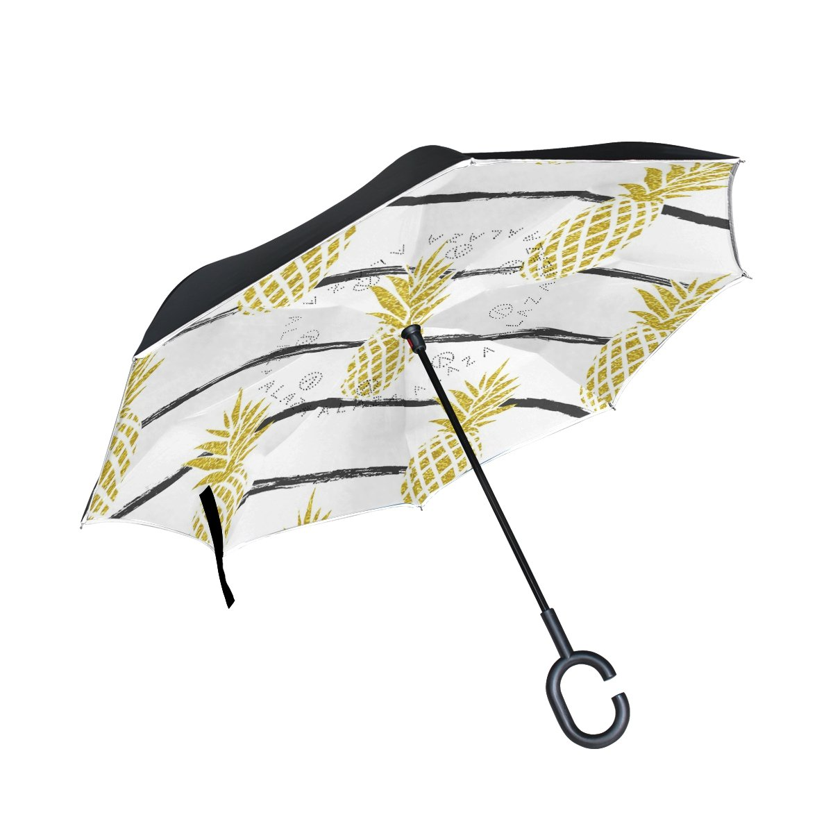 Vipsk Umbrella Reverse Umbrella Gold Yellow Color Pineapple White Creative Cars Umbrella Double Layer Inverted Umbrella Windproof Straight Waterproof Inside Out Travel Umbrellas