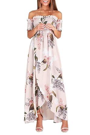 173d41b7abd3 GREMMI Sommerkleider Damen Blumen Maxi Kleid Schulterfreies Abendkleid  Strandkleid Party Schulter Kleider Chiffon Kleid  Amazon.de  Bekleidung