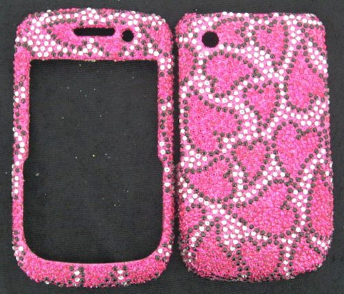 FULL DIAMOND CRYSTAL STONES COVER CASE FOR BLACKBERRY CURVE 8520 8530 9300 PINK BLACK HEARTS (Blackberry Curve Protective Case)