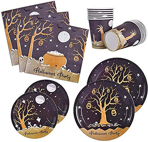 Halloween Themed Dinner Party Food (120 PCS Halloween Party Supplies Disposable Dinnerware Set Dinner Paper Plates Napkins Cups Black Yellow Decoration, Serves)