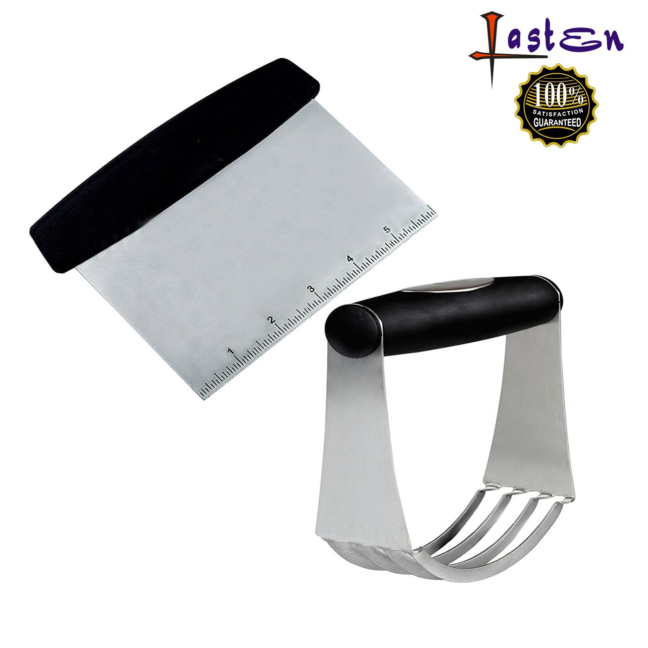 Lasten Baking Dough Blender and Dough Scraper Set, Stainless Steel Pastry Cutter and Scraper, Pastry Blender With Blades, Nut Chopper, Pizza Dough Baking Pastry Cutter For Your Kitchen by Lasten