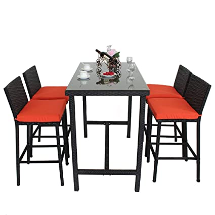 Remarkable Leaptime Patio Bar Stools Furniture Dining Set Rattan 1 Table 4 Stools Pe Wicker Bar Set Stools Table Set Garden Outdoor Set Black Wicker Orange Spiritservingveterans Wood Chair Design Ideas Spiritservingveteransorg