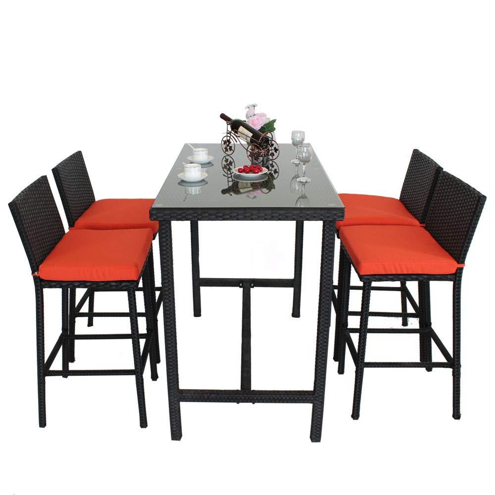 Leaptime Patio Bar Stools Furniture Dining Set Rattan 1 Table 4 Stools PE Wicker Bar Set Stools Table Set Garden Outdoor Set Black Wicker Orange Cushion