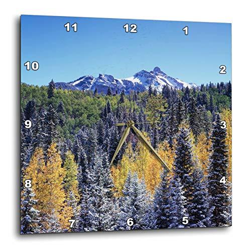 3D Rose Colorado - San Juan Mountains - Snow and Autumn Colors of Aspen Trees Wall Clock, 15