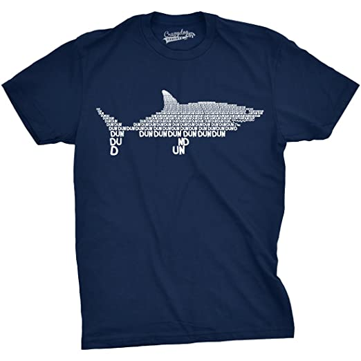 d16a38044f2fd Mens Dun Dun Shark Theme T-Shirt Cool Graphic Great White Music Text Tee (
