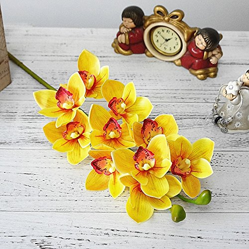 Roossys Modern Silk Orchid Flower Arrangements Orchid Flower Indoor Decorative Real Touch Artificial Cymbidium Orchid Flower Latex Hand Feel Simulation Flower for Home Wedding Decoration (Yellow)