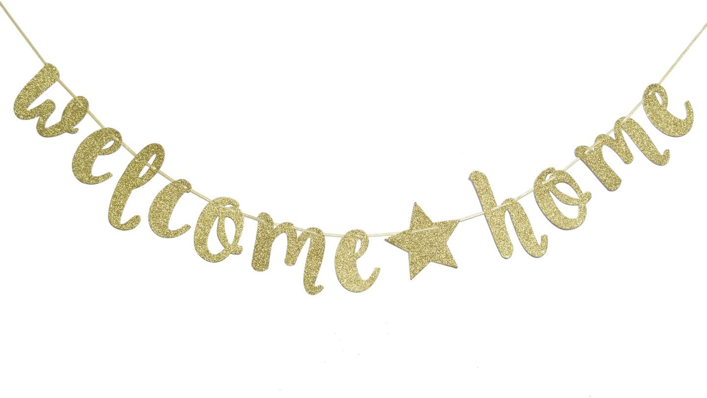 Qttier Welcome Home Gold Glitter Banner for Housewarming Patriotic Military Decoration Family Party Supplies Cursive Bunting Photo Booth Props Sign ( Gold )