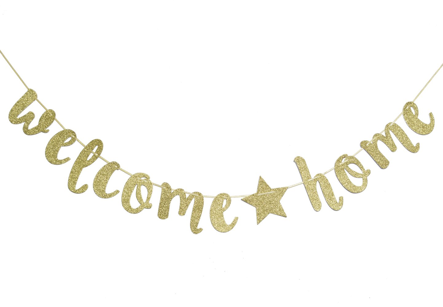 Welcome Home Gold Glitter Banner for Housewarming Patriotic Military Decoration Family Party Supplies Cursive Bunting Photo Booth Props Sign (Gold)