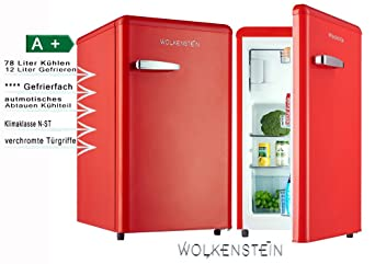 Retro Kühlschrank Bohmann : Retro kühlschrank mit gefrierfach feuer rot ks rt fr a liter