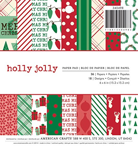 (American Crafts 36 Sheet Holly Jolly Paper Pad, 6 x 6)