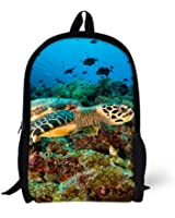 Cool 3D fish Children 16-inch School Book Bag Printing Backpacks For Kids,Boys or Girls