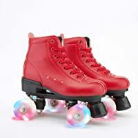 Roller Skates for Women Men PU Leather Skates Classic Adjustable Youth Roller Skates for Indoor and Outdoor