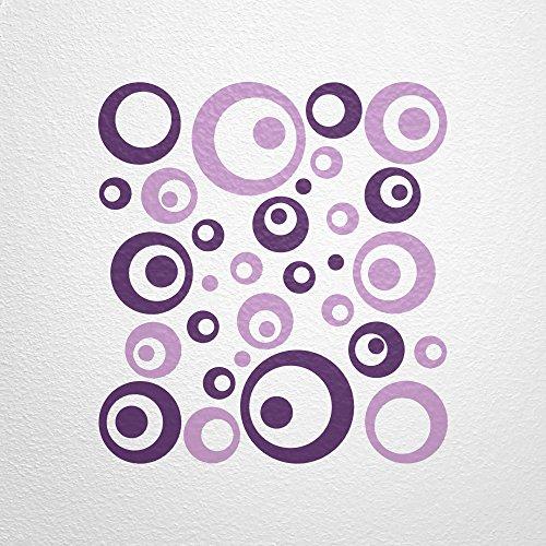 WANDfee® Wandtattoo 50 Retro Kreise AC1011718 Größe Ø 2 x 20 cm, 6 x 15 cm, 10 x 10 cm, 20 x 6 cm, 12 x 3 cm Farbe lila flieder