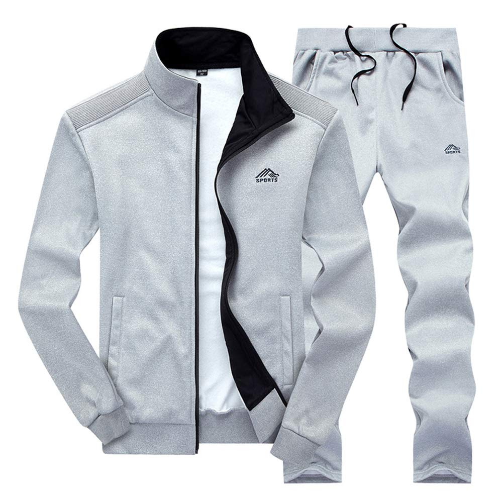 Men 2 Piece Tracksuit Set Full Zip Athletic Sweatsuit Outfit Jogger Running Sport Set