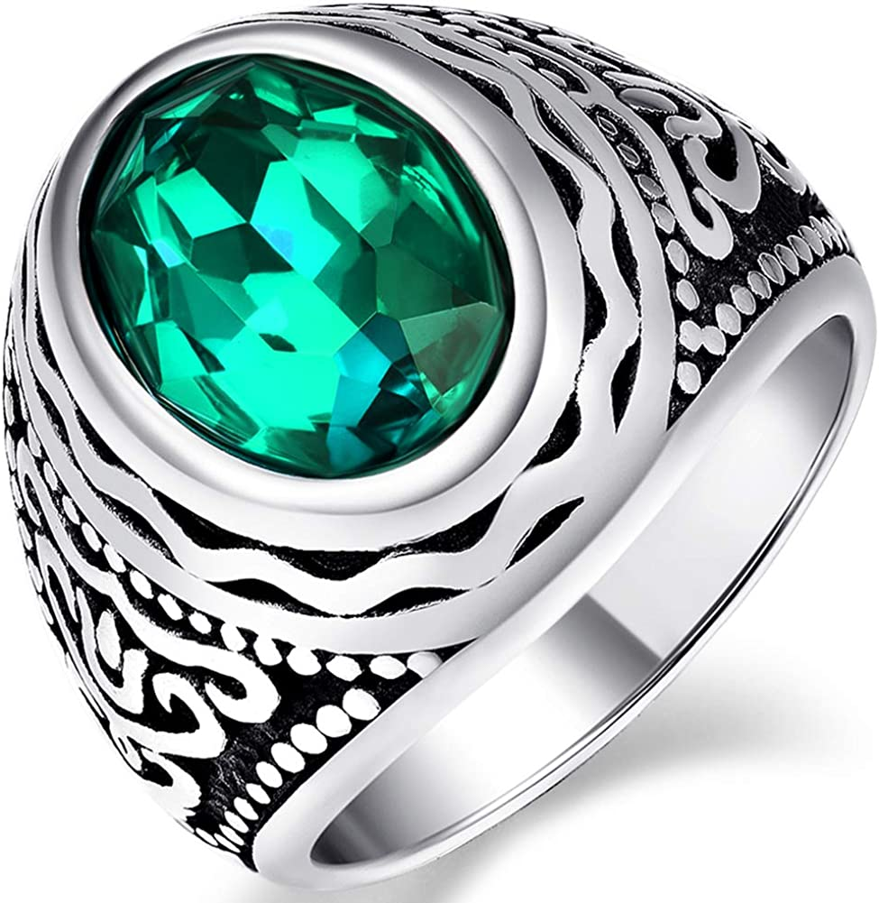 NUNCAD Men's Vintage Totem Stainless Steel Ring with Blue/Green/Red Oval Crystal Inlaid Size 7-12